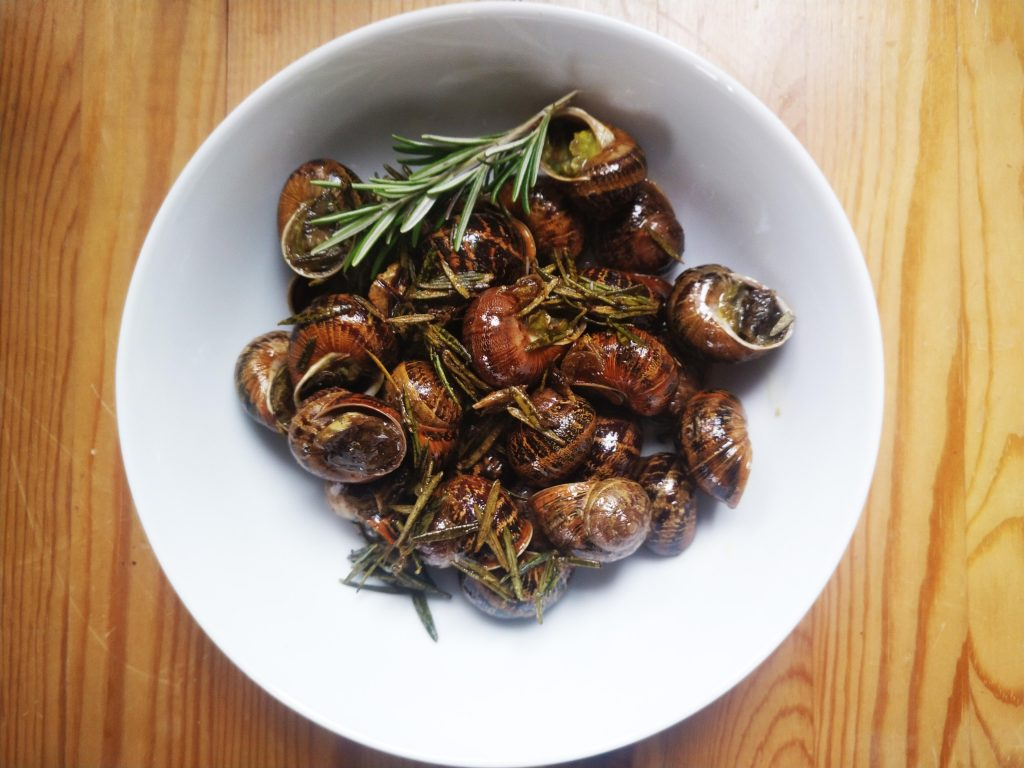 Snails with rosemary