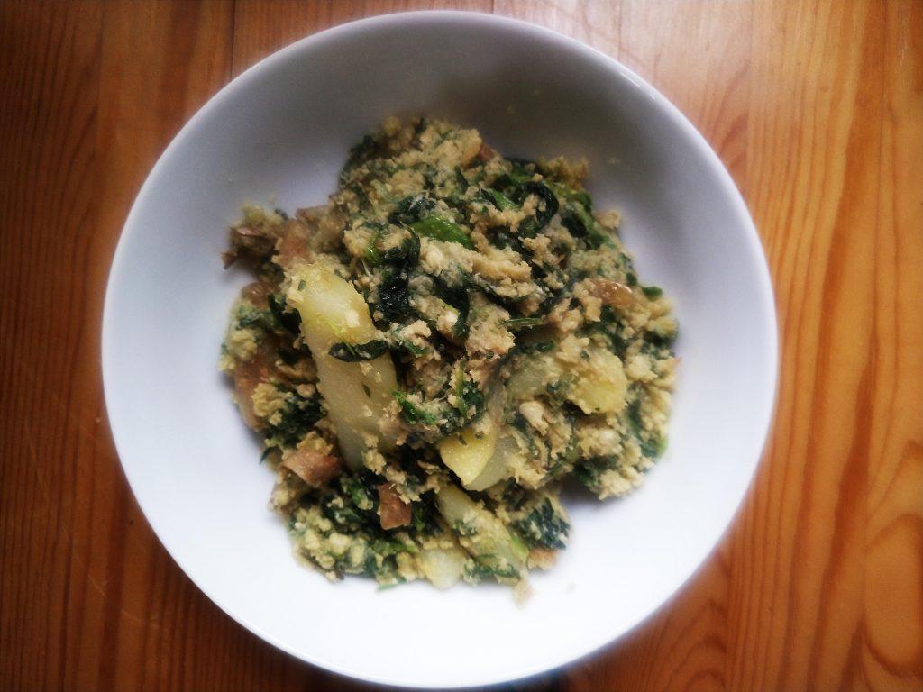 Egg potato spinach